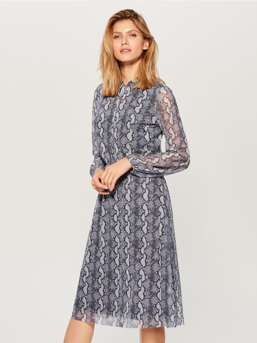 Snake print midi dress  - grey - WB307-90P - Mohito - 1