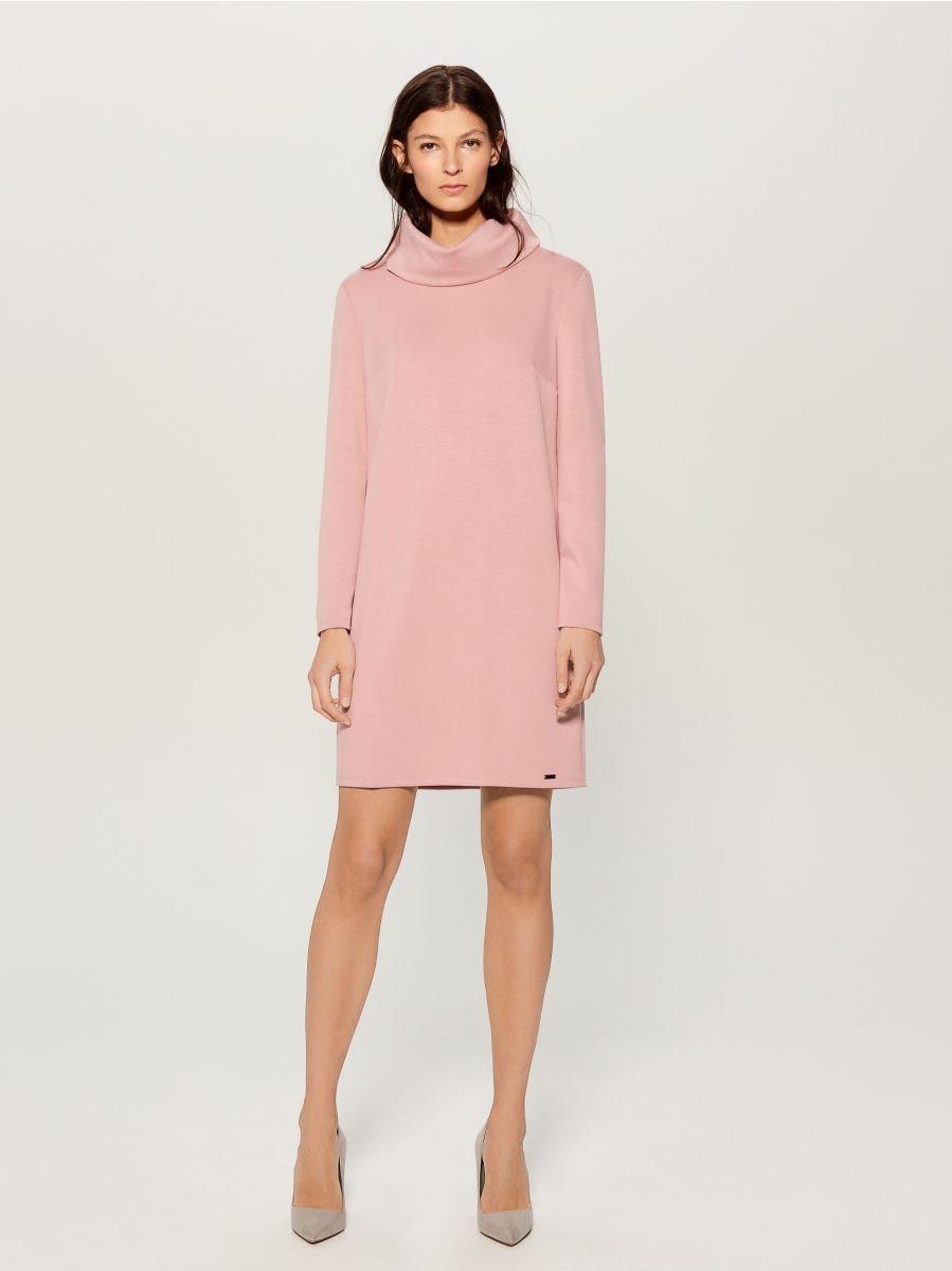Wide turtleneck dress  - pink - WB309-03X - Mohito - 1