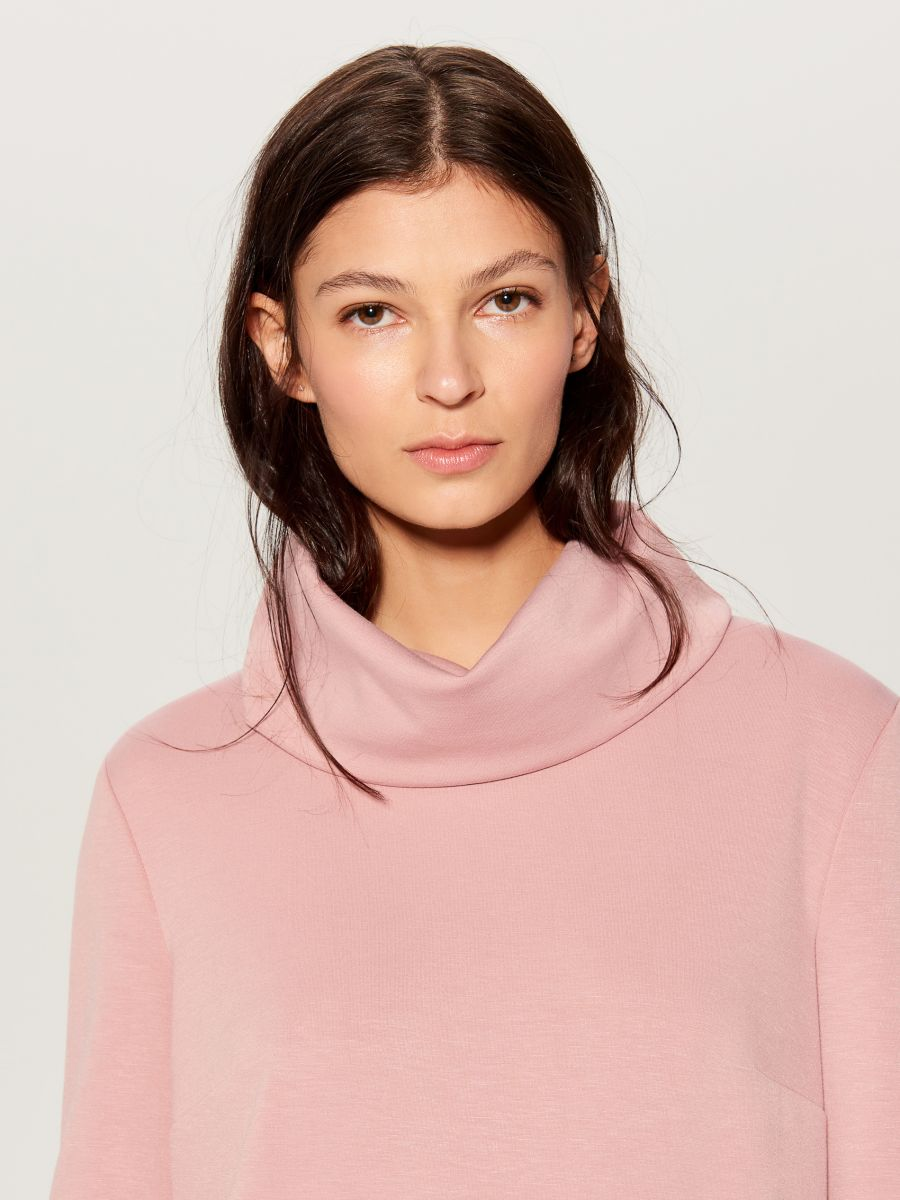 Wide turtleneck dress  - pink - WB309-03X - Mohito - 2
