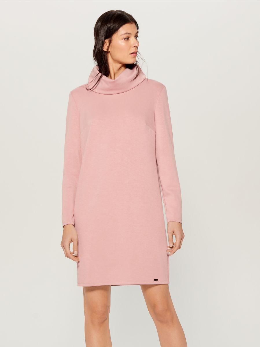 Wide turtleneck dress  - pink - WB309-03X - Mohito - 4