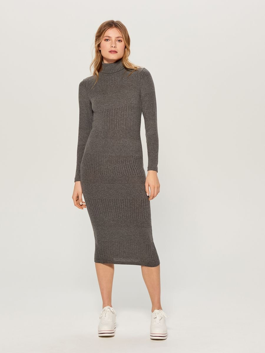 Fitted turtleneck dress - grey - WB466-90X - Mohito - 2