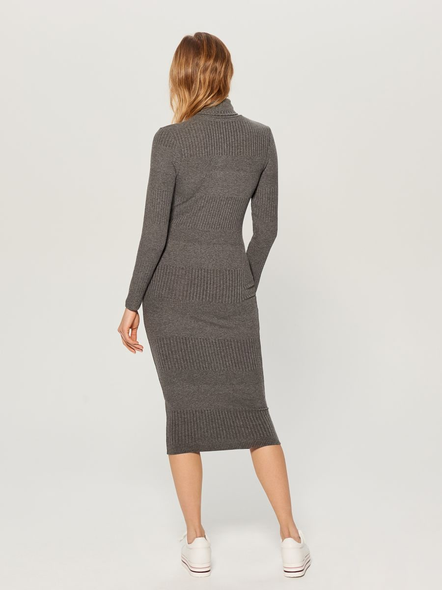 Fitted turtleneck dress - grey - WB466-90X - Mohito - 4
