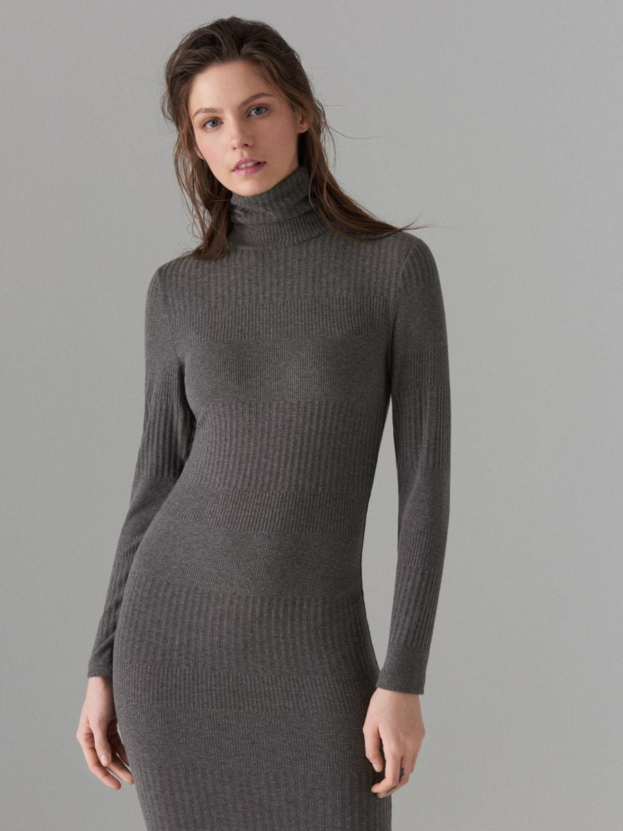 Fitted turtleneck dress - grey - WB466-90X - Mohito - 1