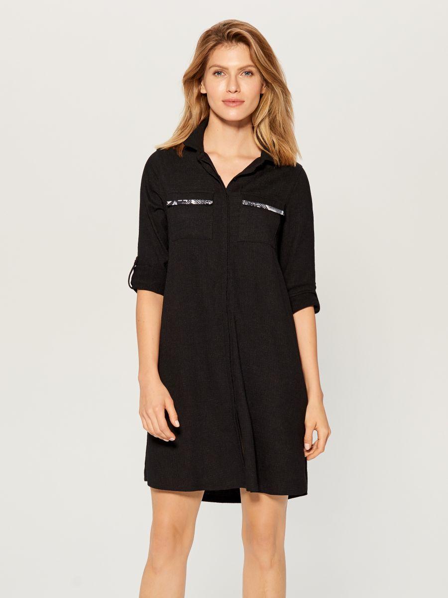 Shirt dress with animal motif  - black - WE123-99X - Mohito - 1