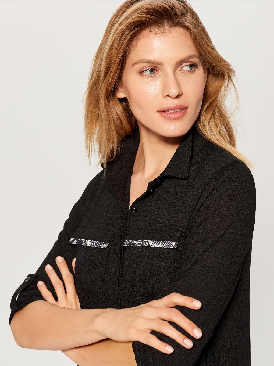 Shirt dress with animal motif  - black - WE123-99X - Mohito - 2