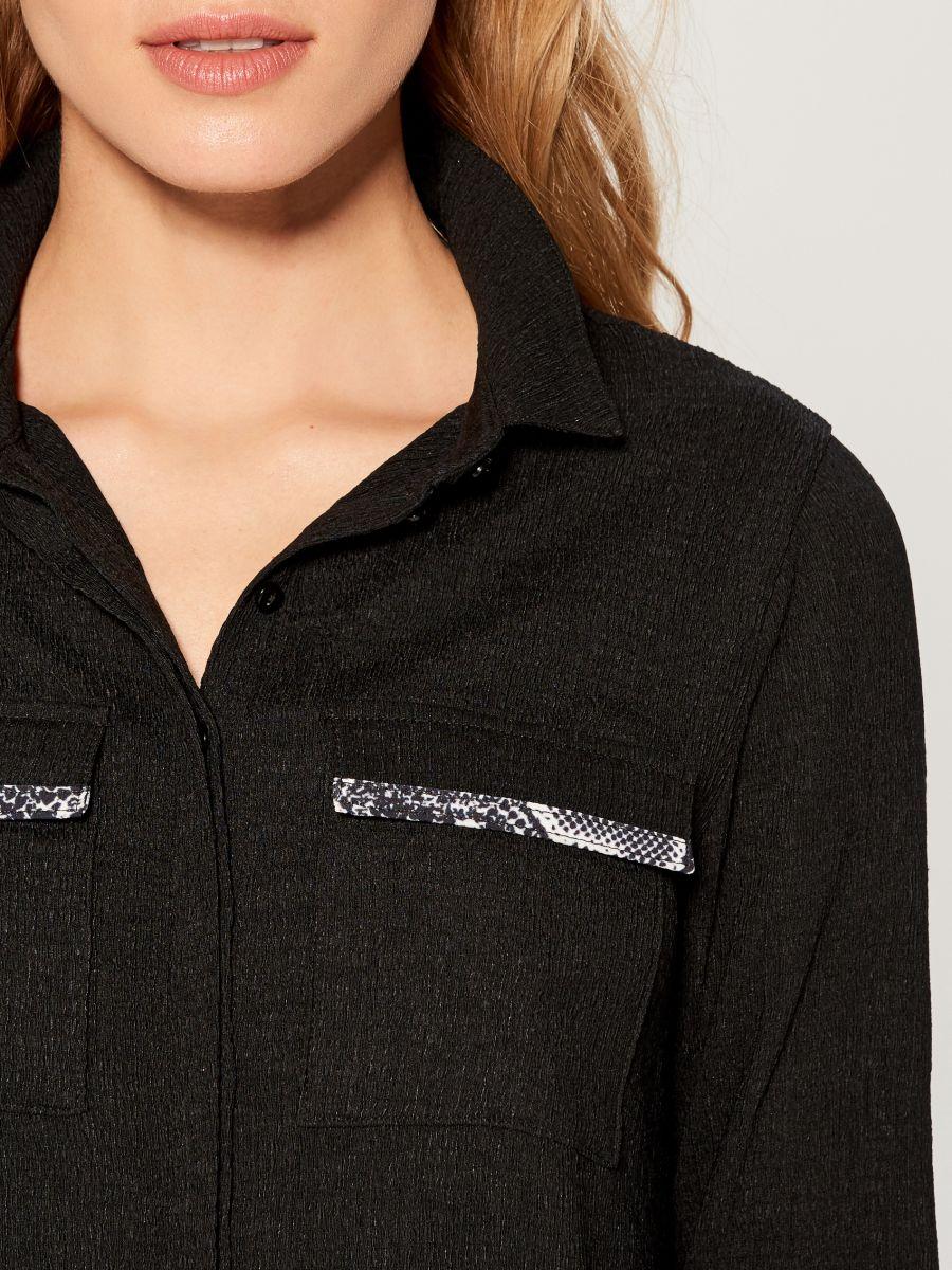Shirt dress with animal motif  - black - WE123-99X - Mohito - 3