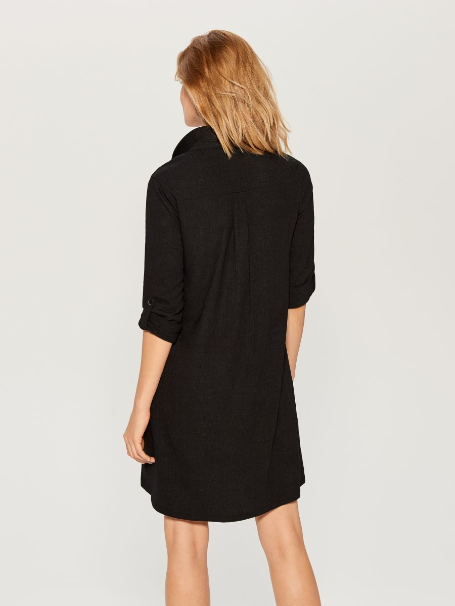 Shirt dress with animal motif  - black - WE123-99X - Mohito - 4