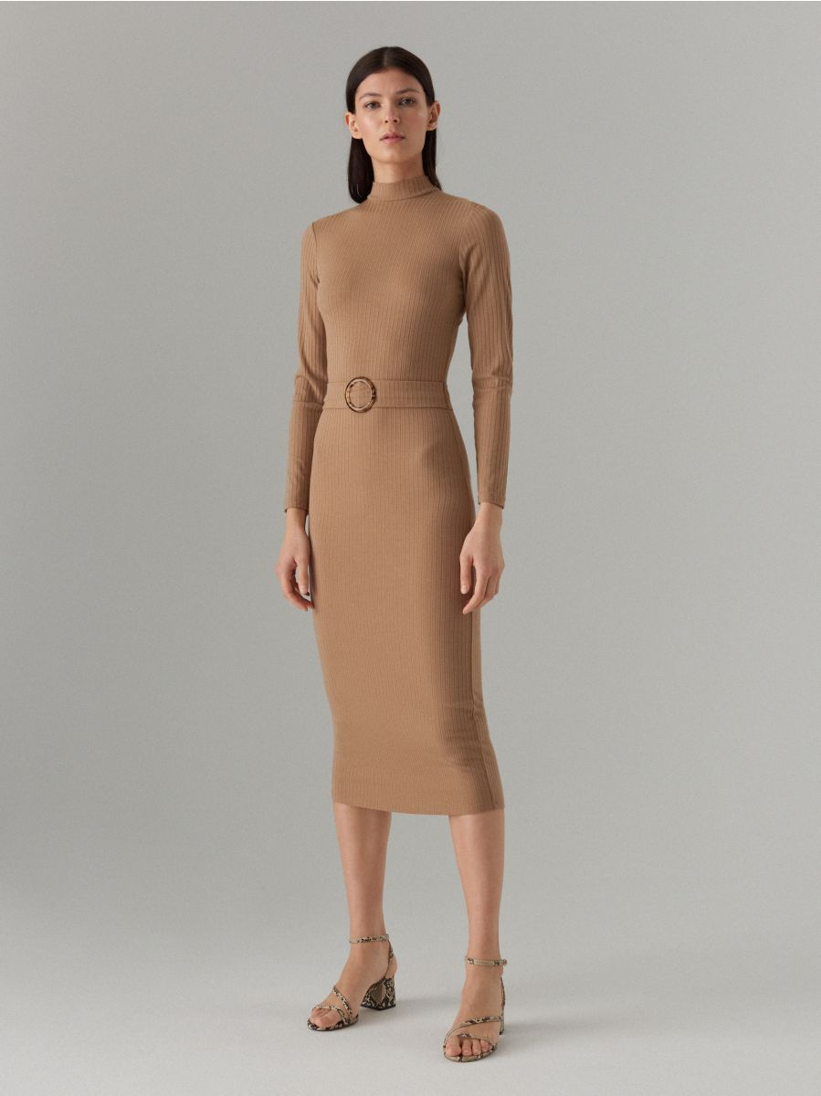 Fitted rib knit dress - beige - WE127-08X - Mohito - 1