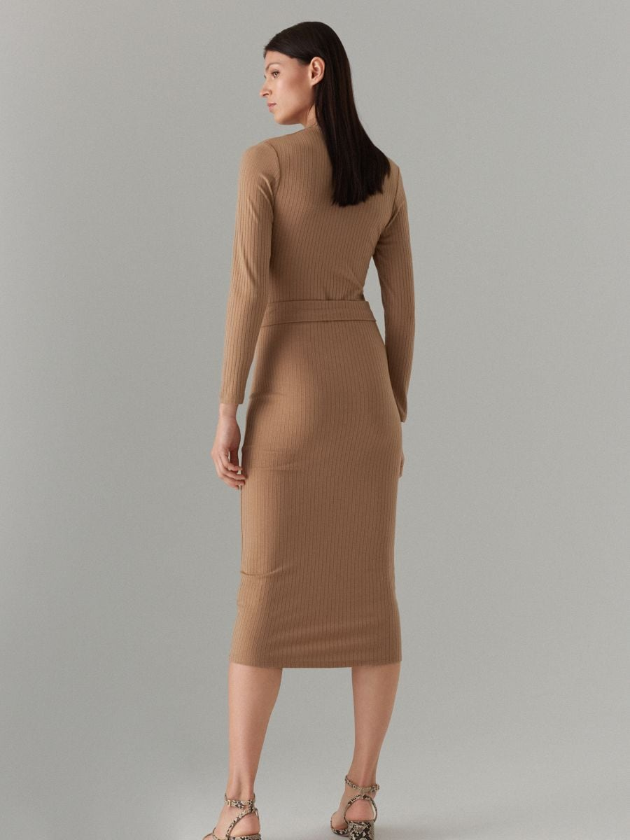 Fitted rib knit dress - beige - WE127-08X - Mohito - 4