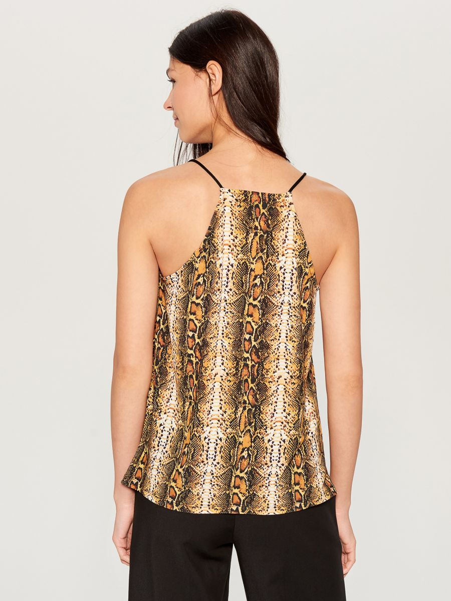 Snake print top - beige - WE844-11P - Mohito - 4