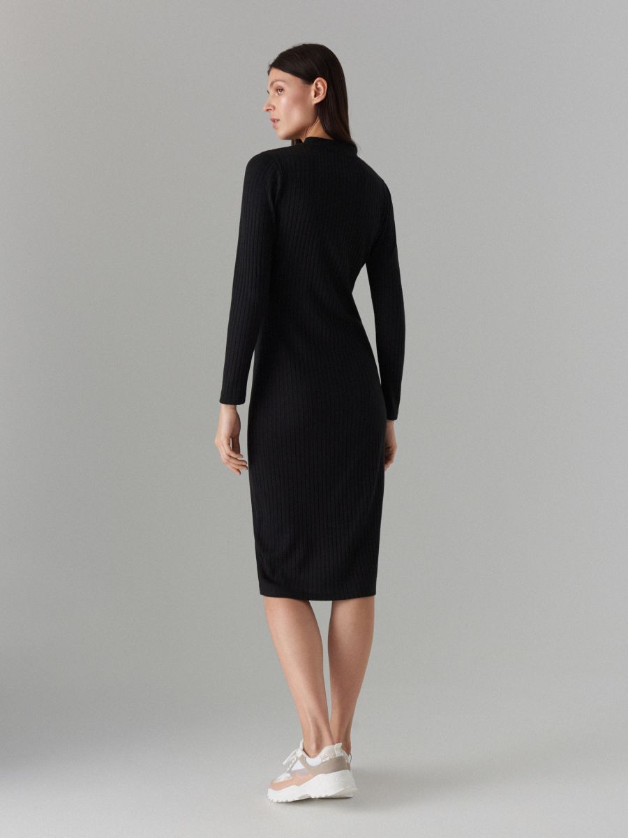 Fitted rib knit dress - black - WF504-99X - Mohito - 3