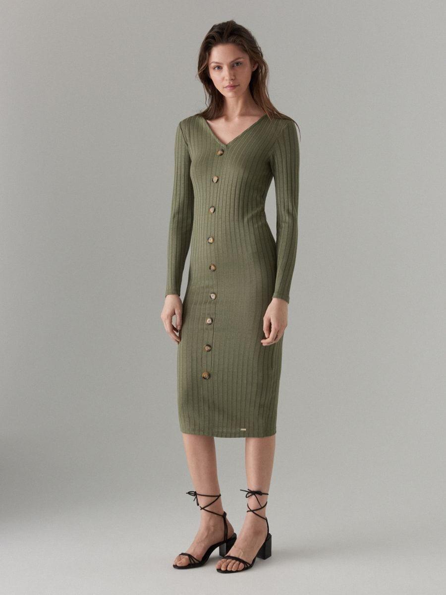 Fitted midi dress - khaki - WF519-87X - Mohito - 2