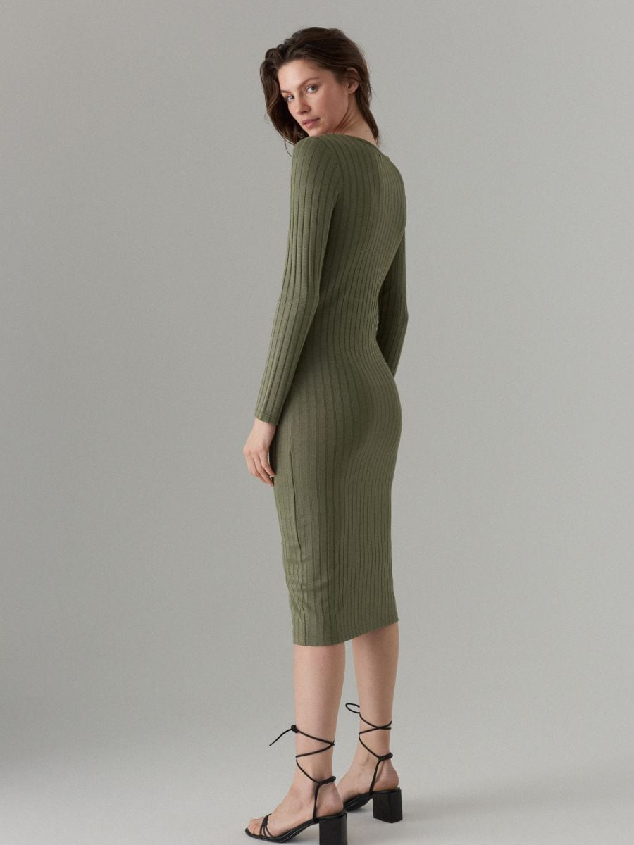 Fitted midi dress - khaki - WF519-87X - Mohito - 4