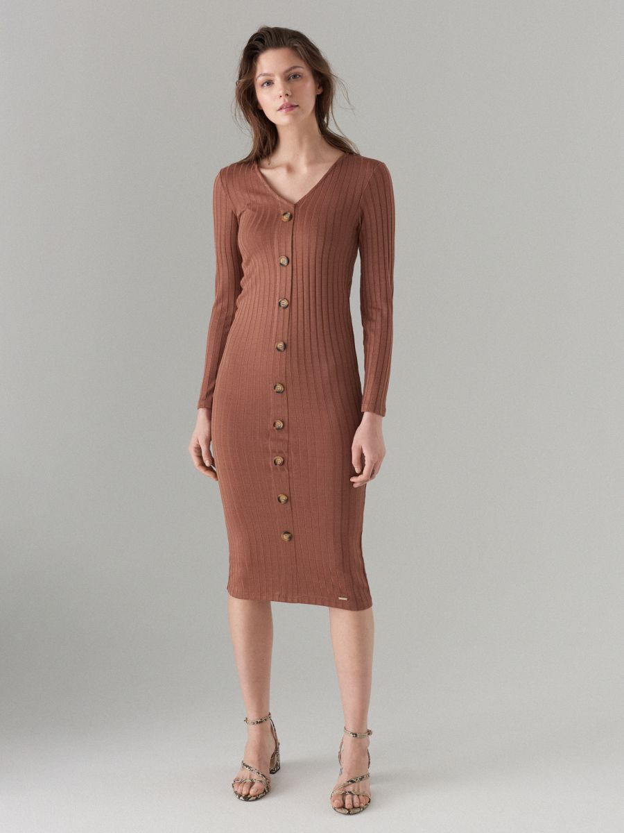 Fitted midi dress - brown - WF519-88X - Mohito - 1
