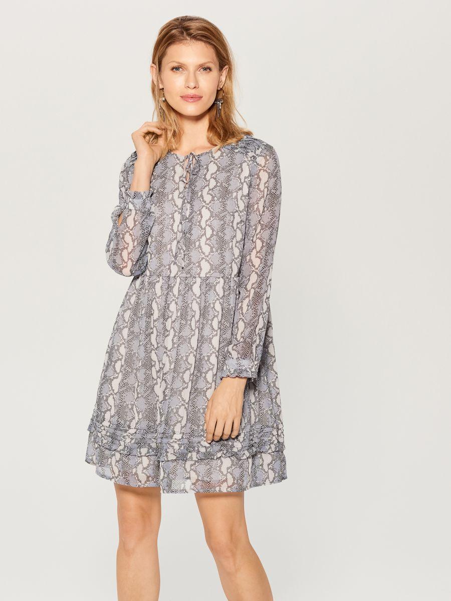 Snake print dress - grey - WG187-09P - Mohito - 1