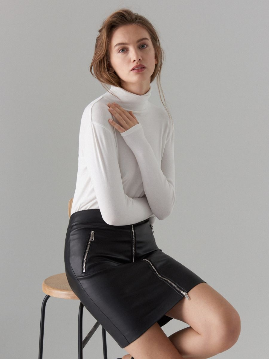 Faux leather pencil skirt - black - WG861-99X - Mohito - 1