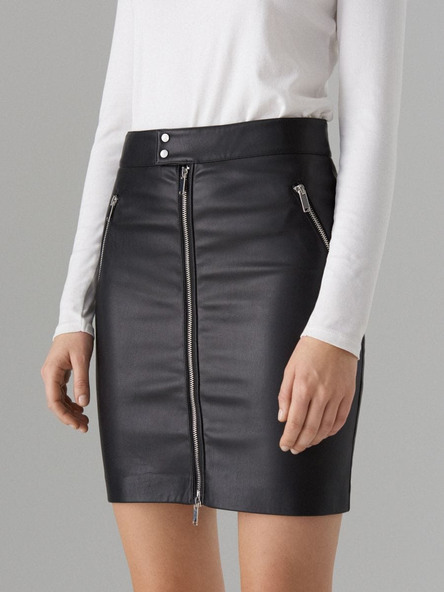 Faux leather pencil skirt - black - WG861-99X - Mohito - 2