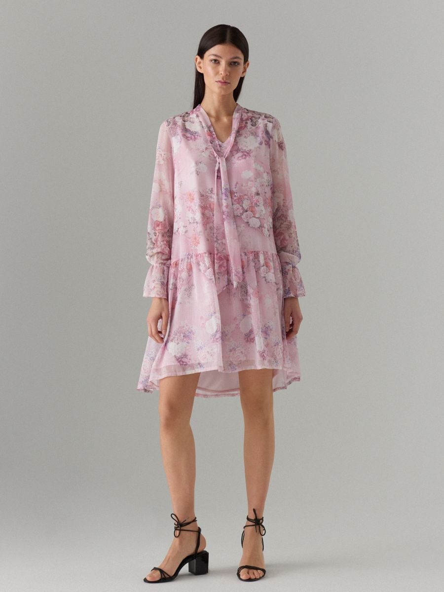 Floral print tie neck dress - pink - WG965-39P - Mohito - 1