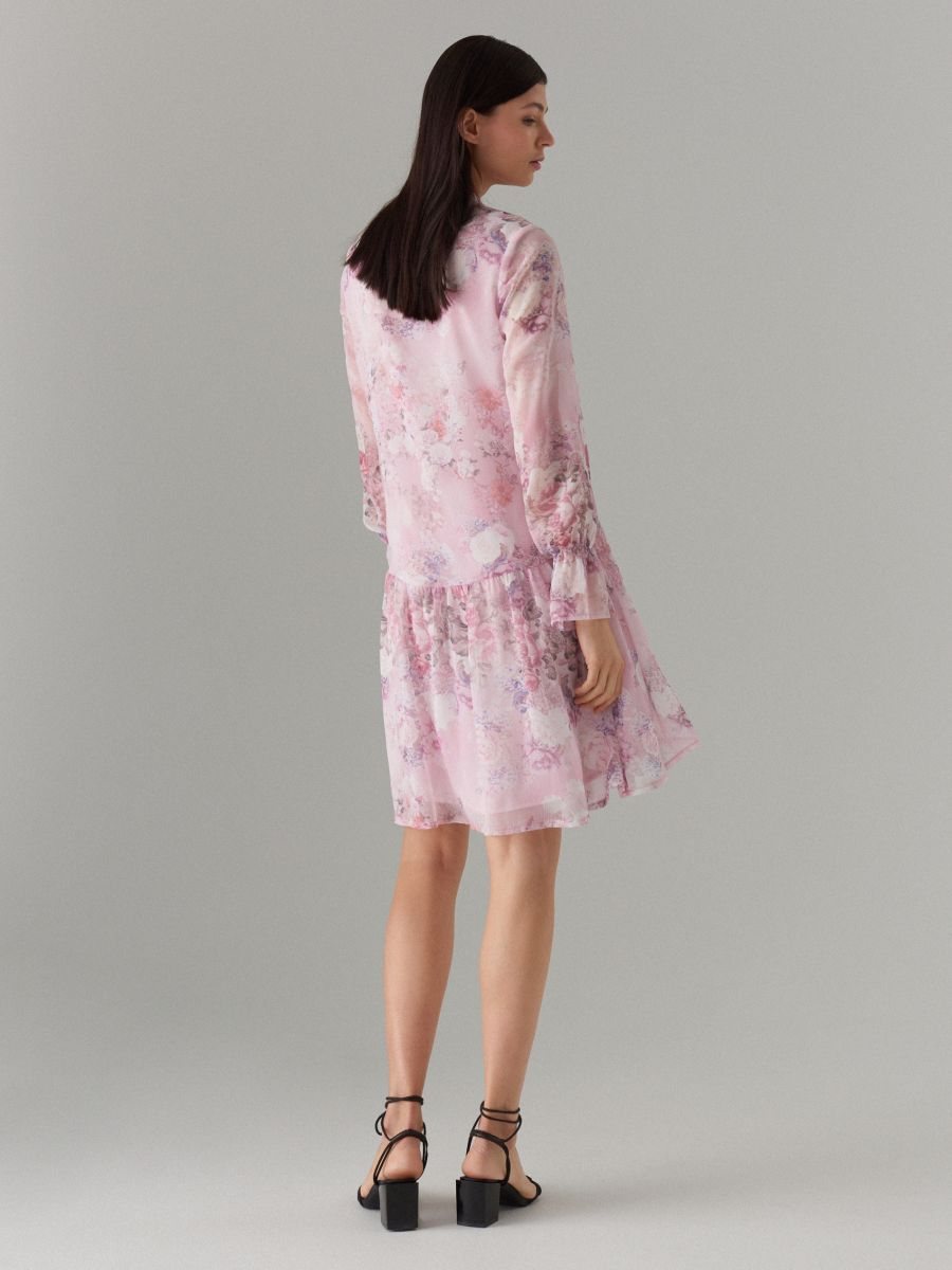 Floral print tie neck dress - pink - WG965-39P - Mohito - 4