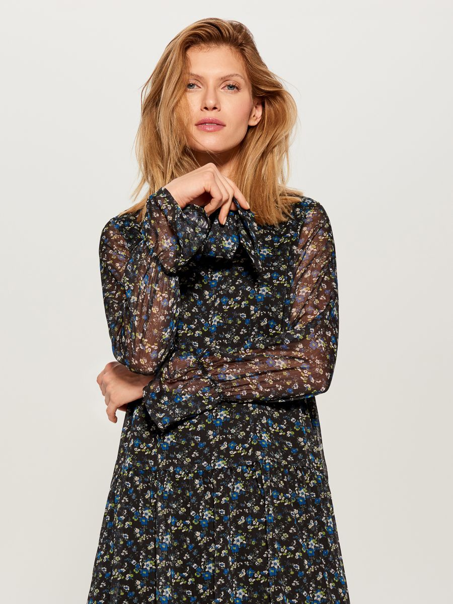 Floral print tie neck dress - blue - WG965-55P - Mohito - 2