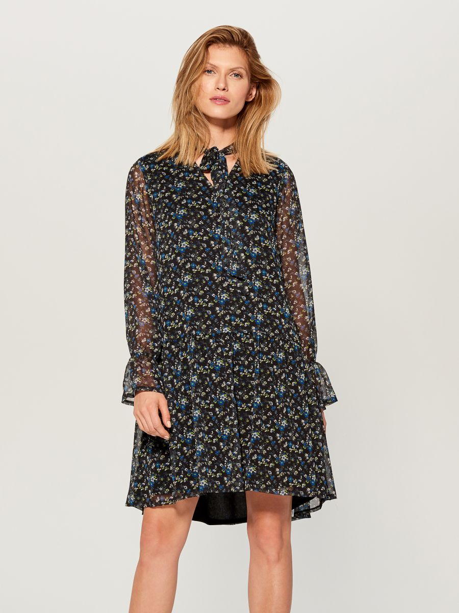 Floral print tie neck dress - blue - WG965-55P - Mohito - 3