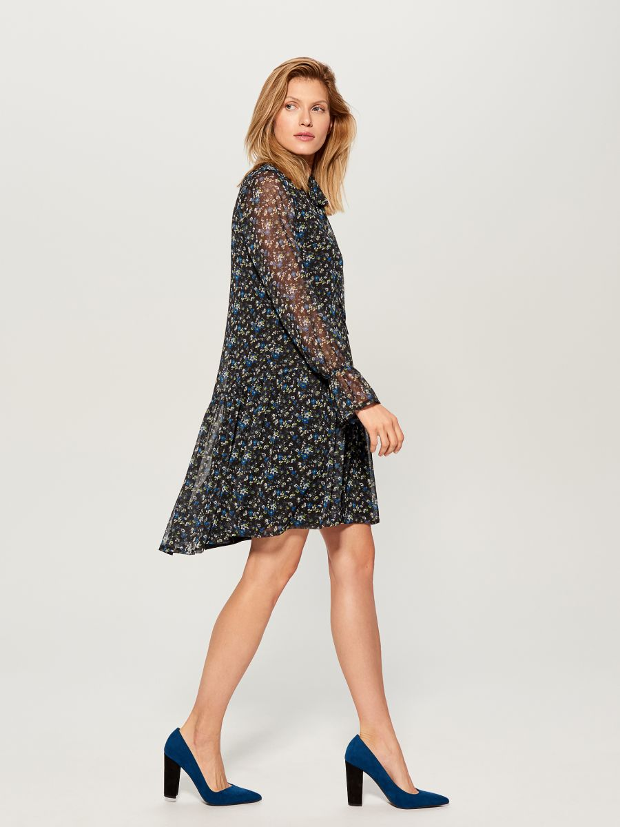 Floral print tie neck dress - blue - WG965-55P - Mohito - 4