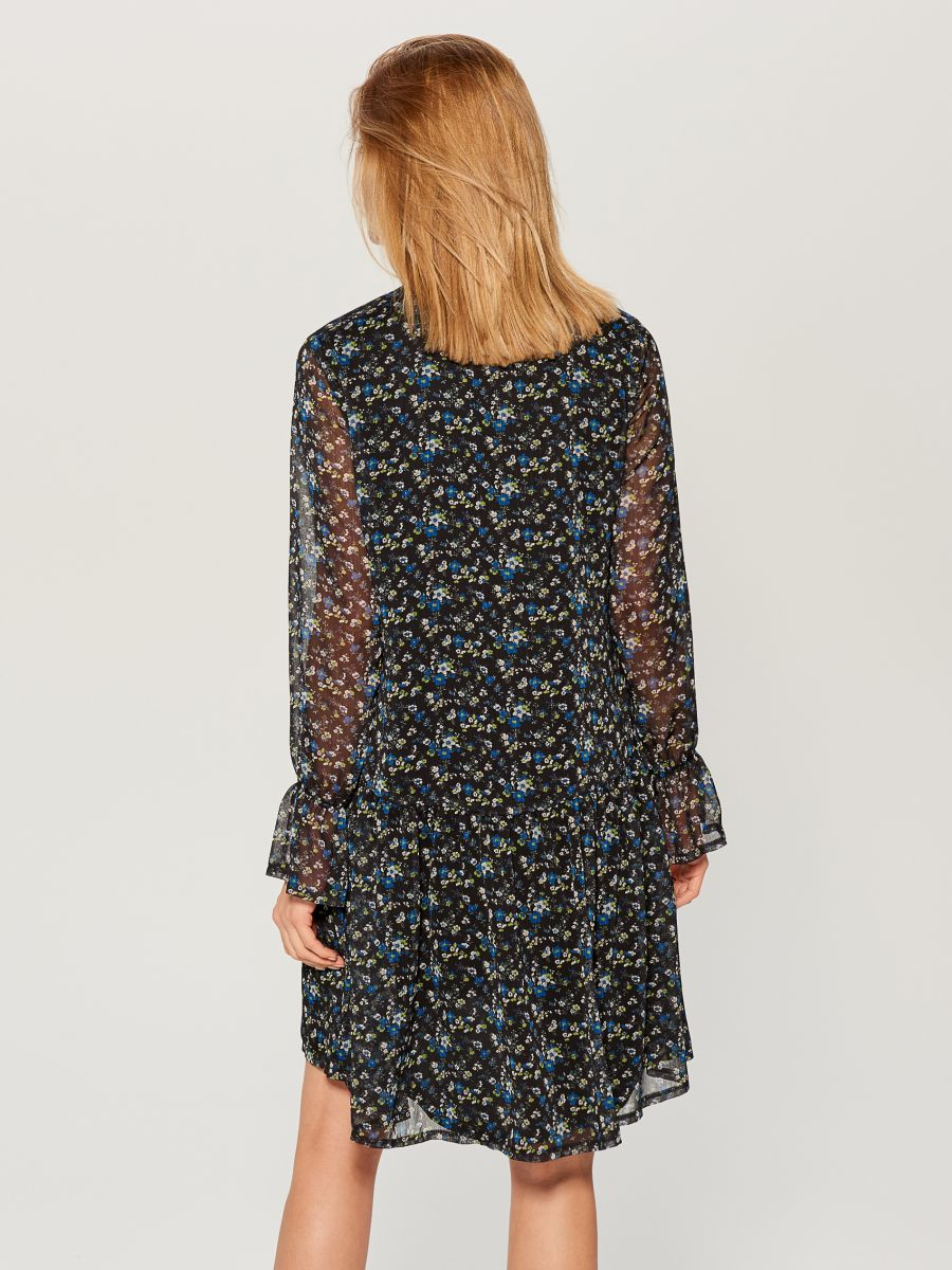 Floral print tie neck dress - blue - WG965-55P - Mohito - 5