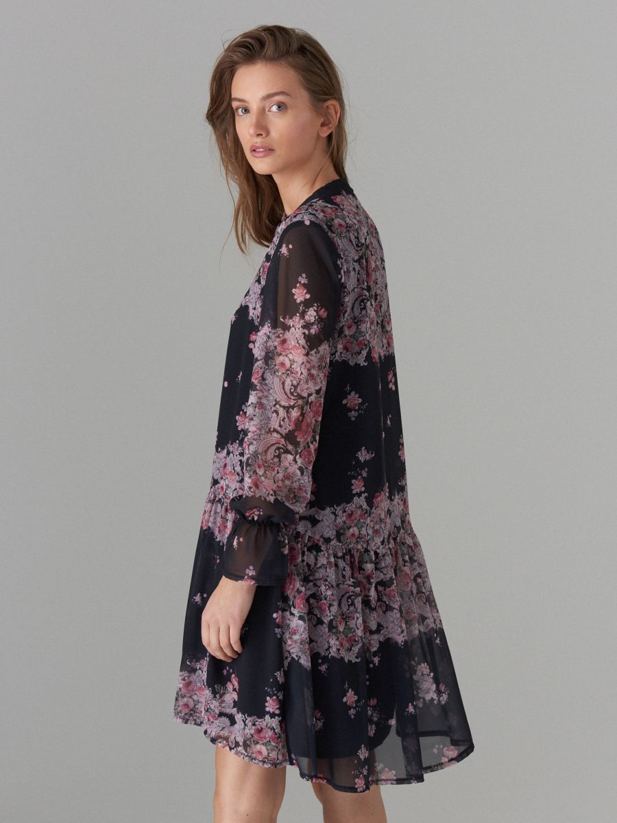 Floral print tie neck dress - black - WG965-99P - Mohito - 5