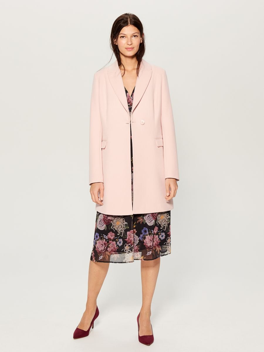 Single-breasted coat - pink - WH037-03X - Mohito - 2