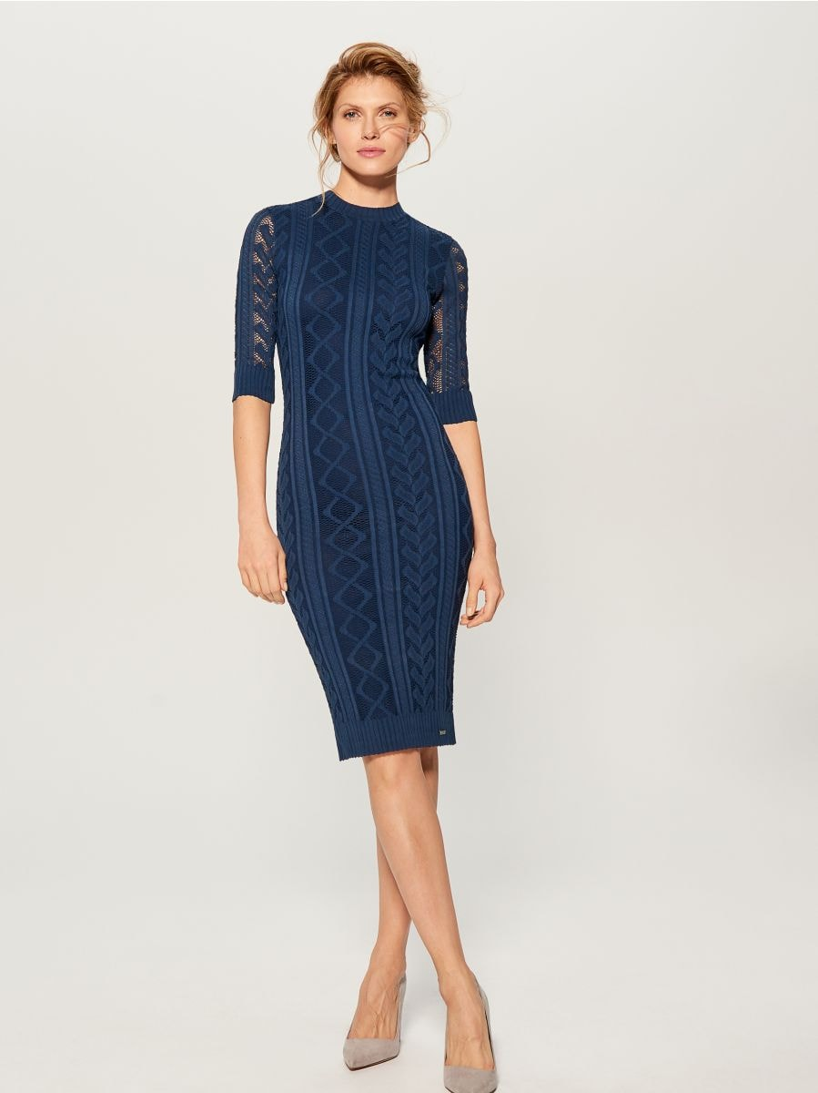 Fitted openwork dress - blue - WK895-50X - Mohito - 1