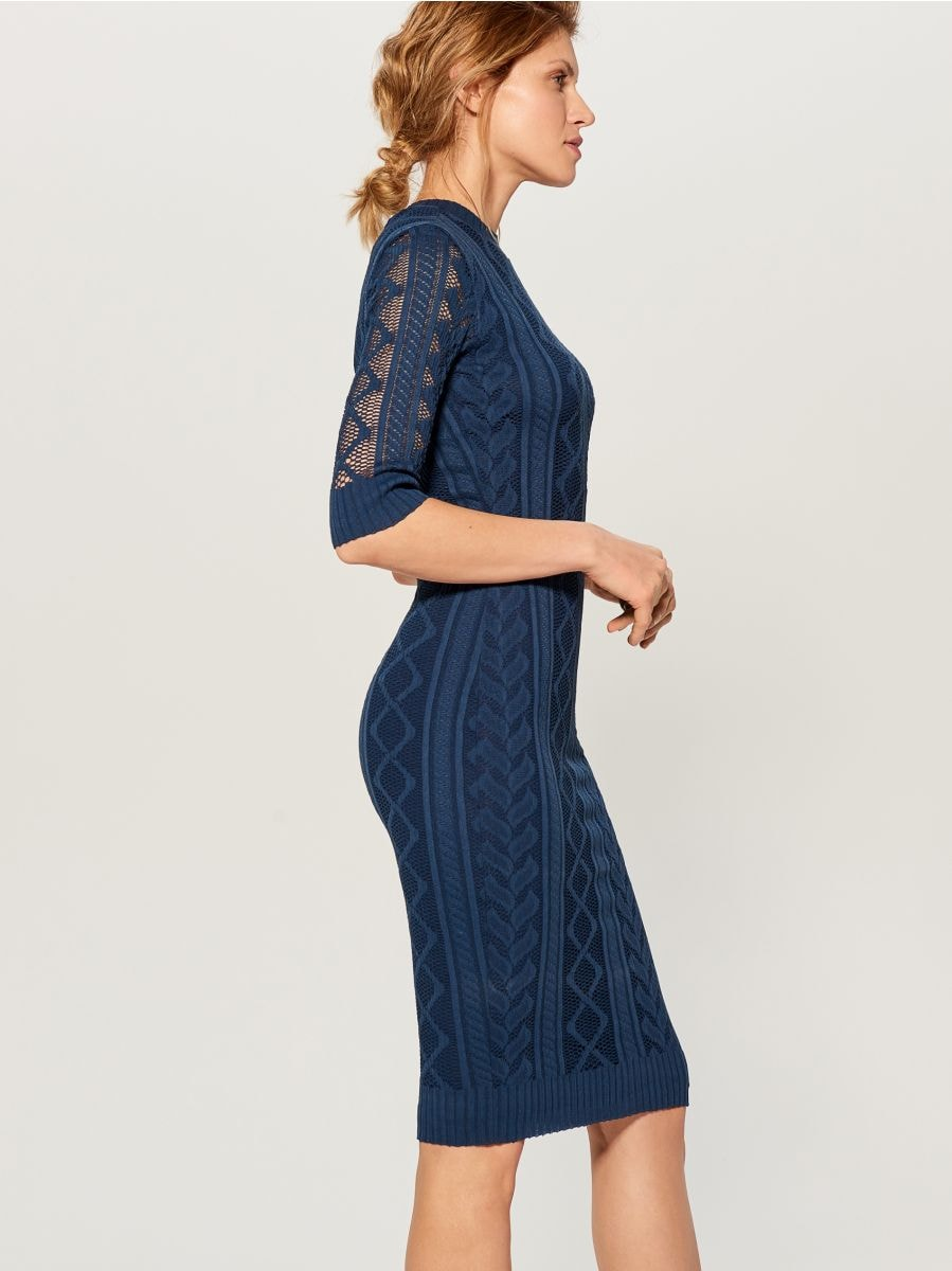 Fitted openwork dress - blue - WK895-50X - Mohito - 2