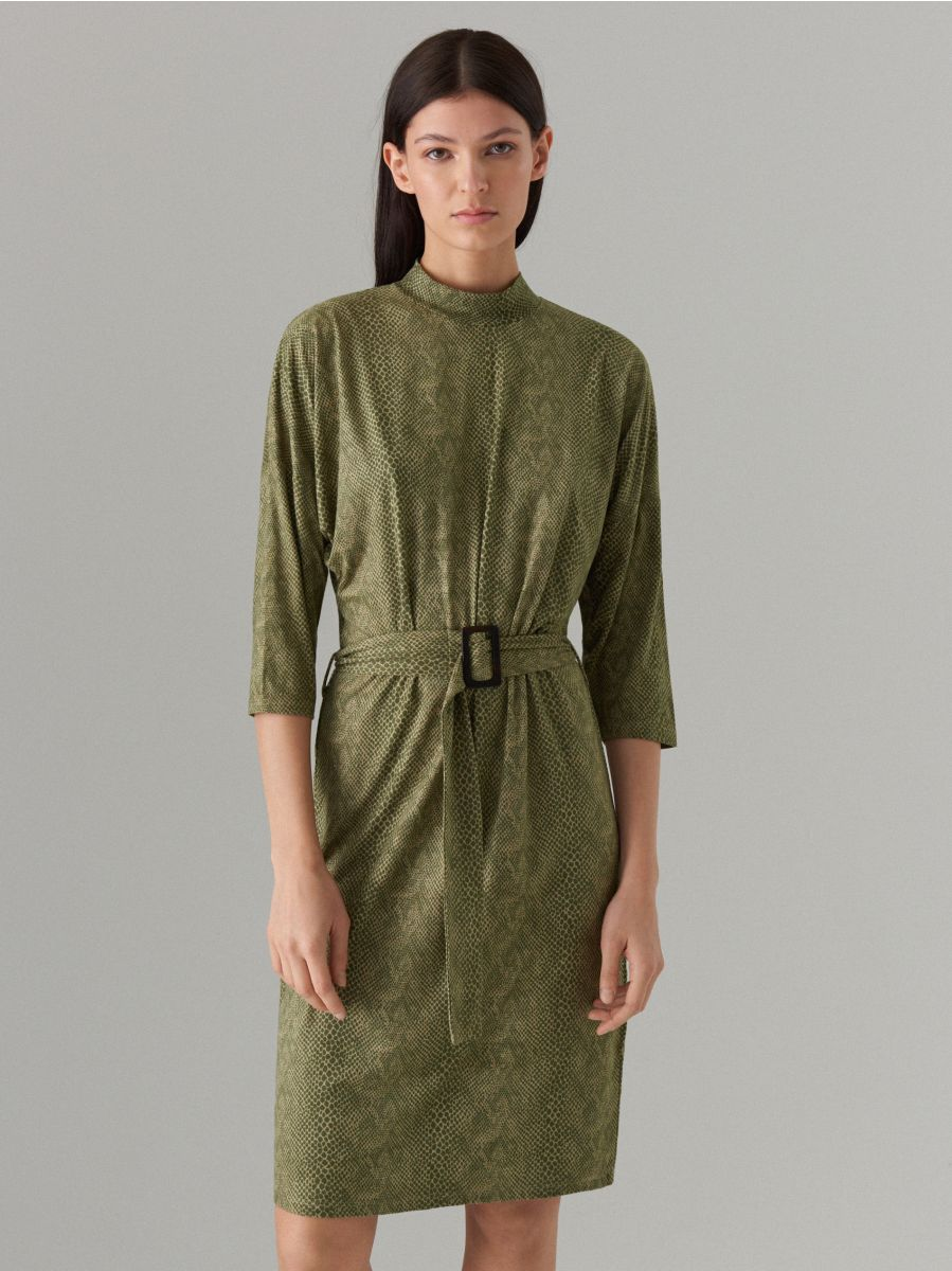 Fitted snake print dress - green - WK896-87P - Mohito - 2
