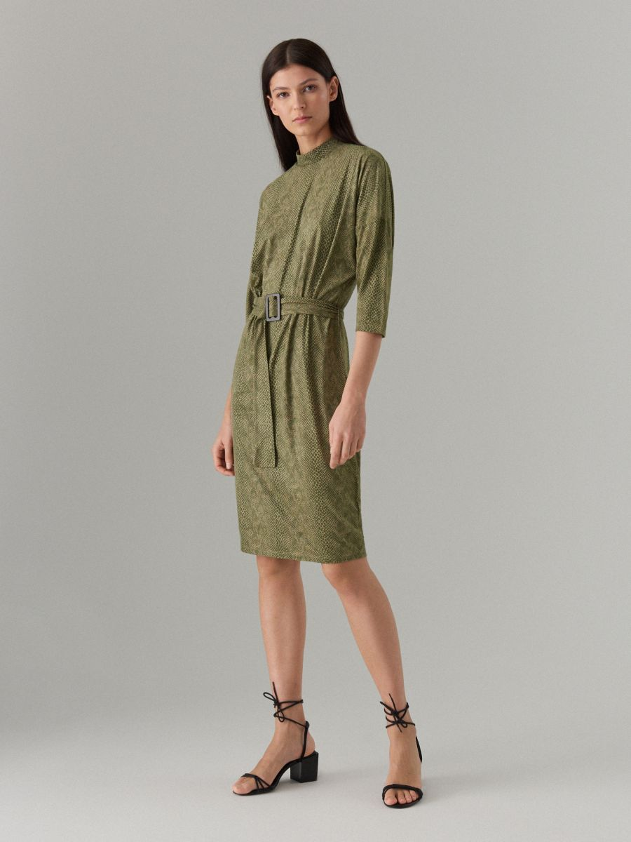 Fitted snake print dress - green - WK896-87P - Mohito - 3