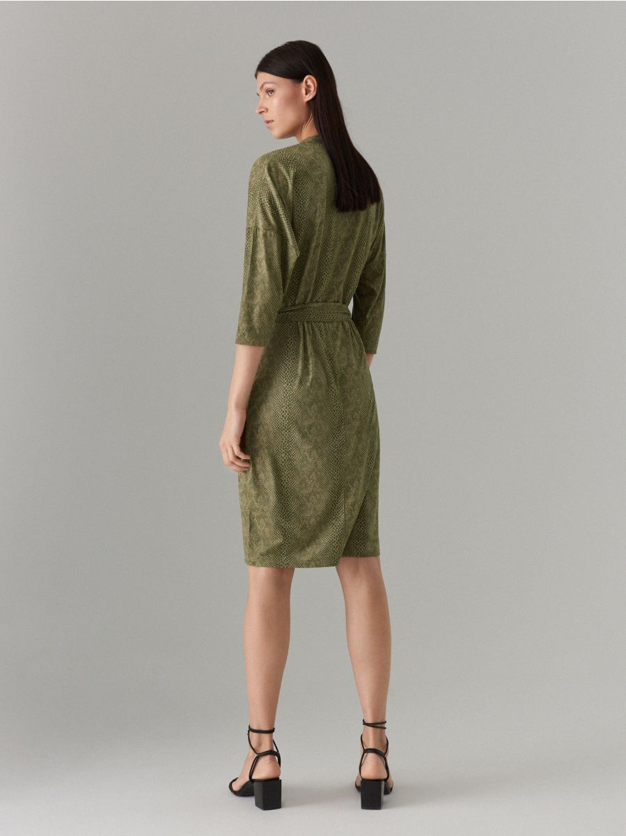 Fitted snake print dress - green - WK896-87P - Mohito - 4