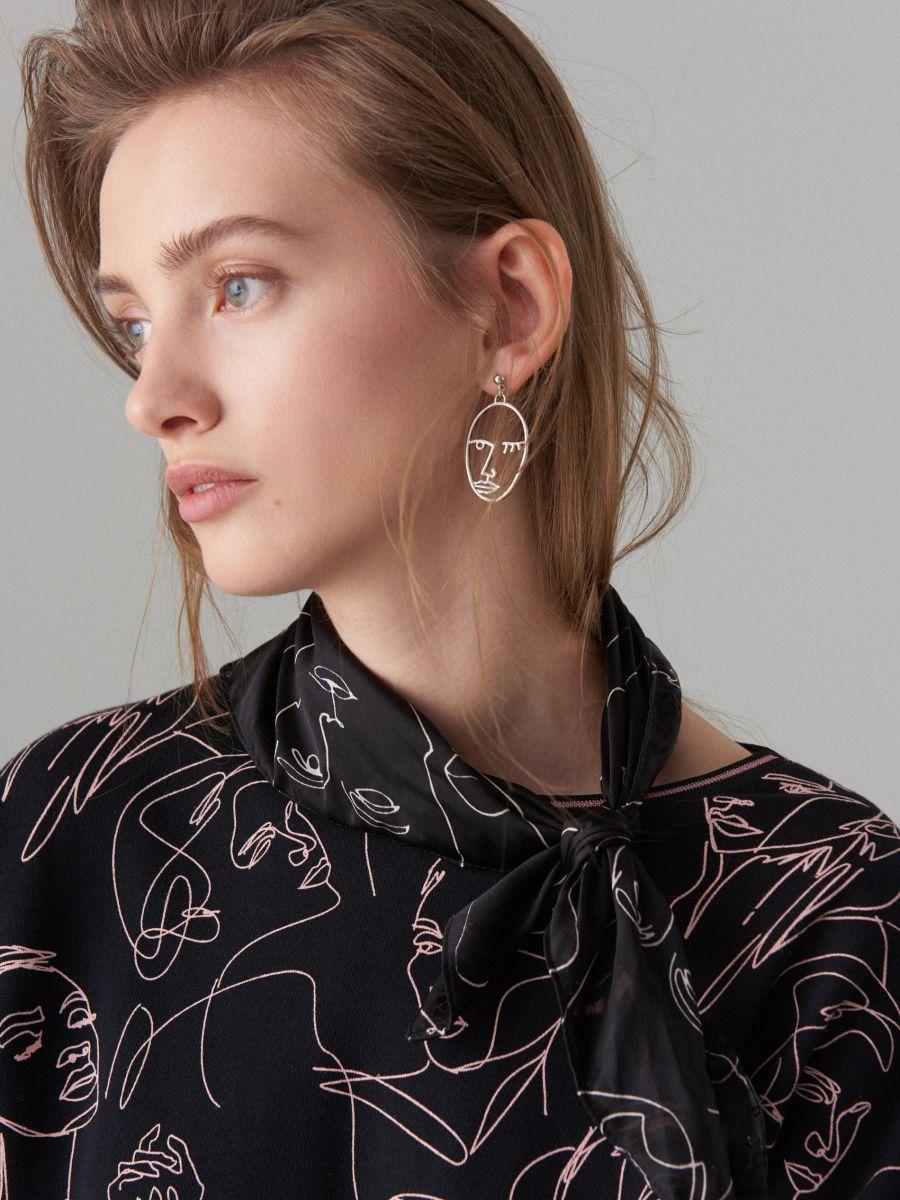 Face print cotton dress  - black - WK898-99X - Mohito - 2