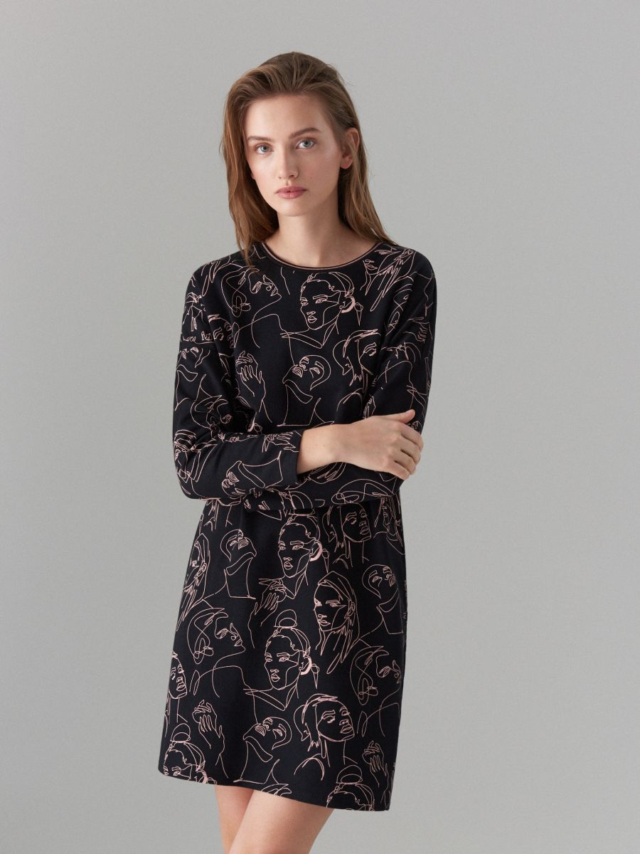 Face print cotton dress  - black - WK898-99X - Mohito - 3