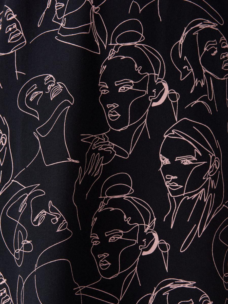 Face print cotton dress  - black - WK898-99X - Mohito - 5