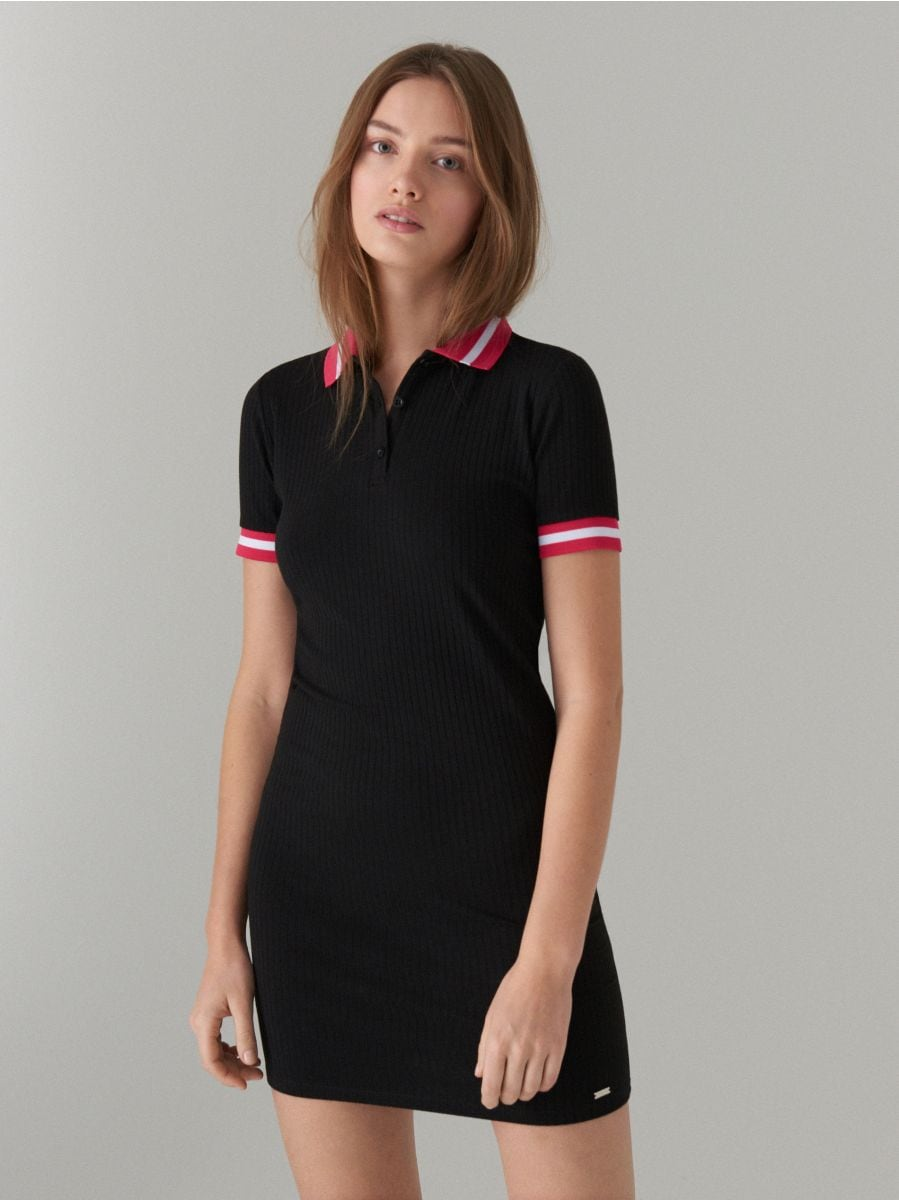 Fitted dress in rib  - black - WL169-99X - Mohito - 2