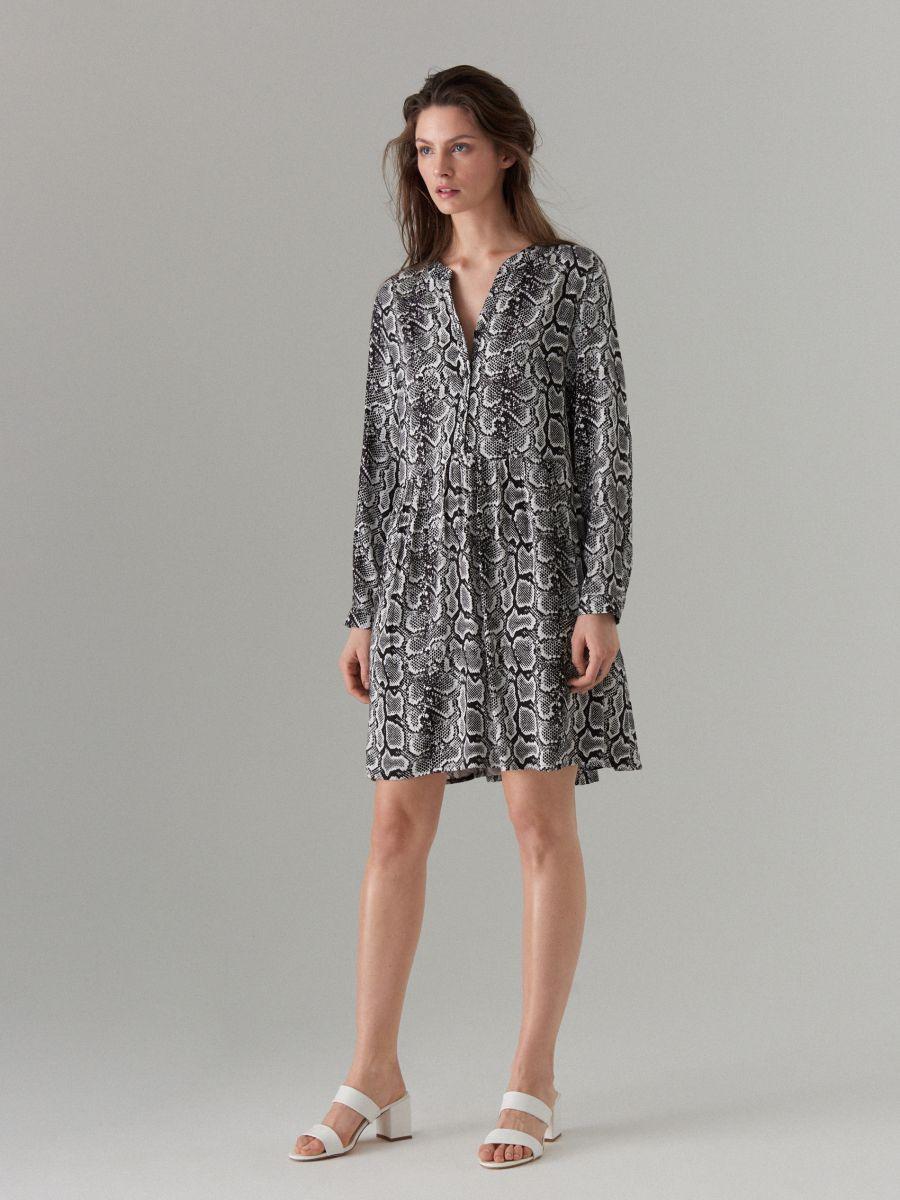 Snake print dress - white - WQ631-00P - Mohito - 4
