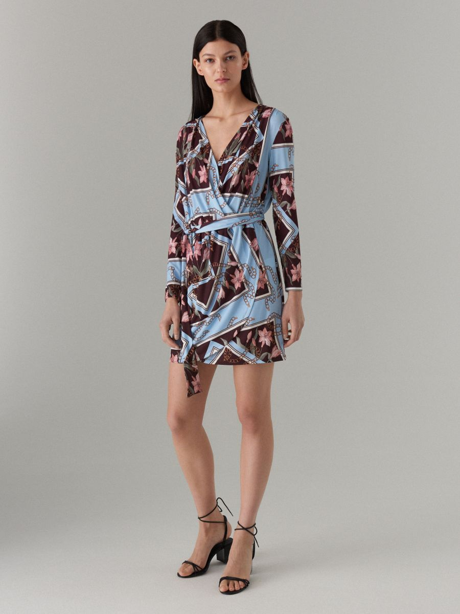 Wrap dress with tie waist - brown - WQ865-88P - Mohito - 2