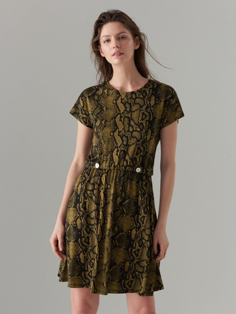 Dress with short sleeves - green - WS204-87P - Mohito - 3
