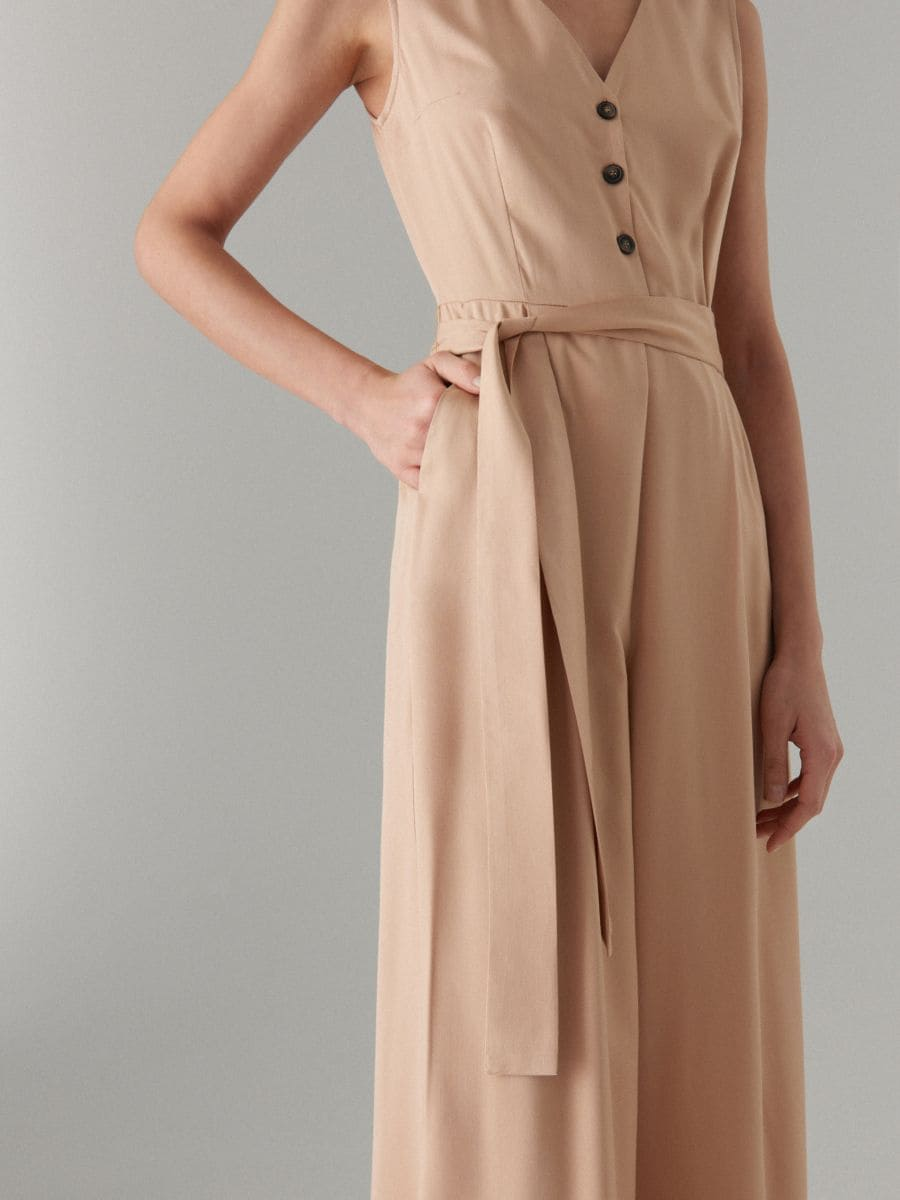 Jumpsuit with belt - beige - WW809-08X - Mohito - 2