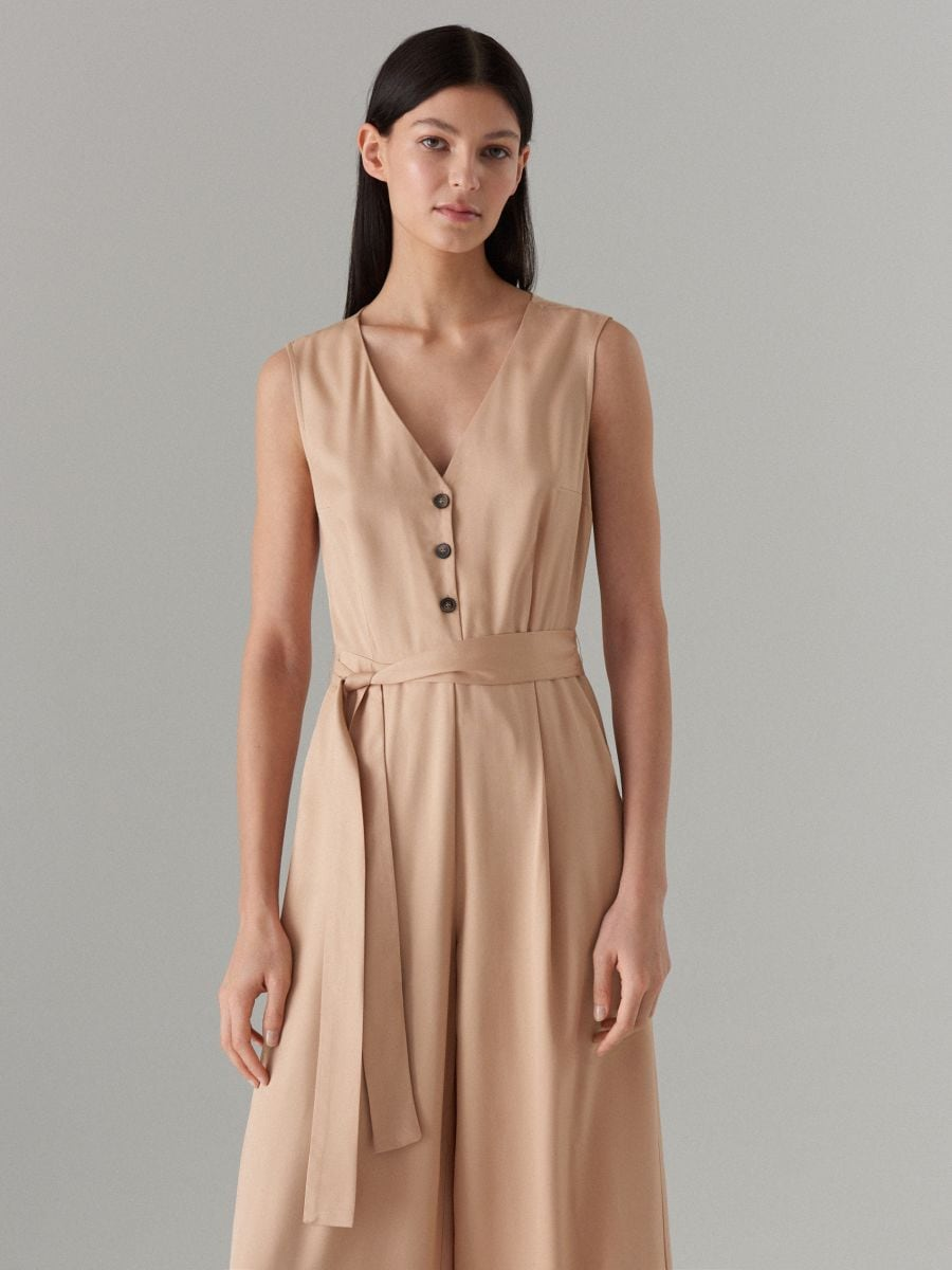 Jumpsuit with belt - beige - WW809-08X - Mohito - 3