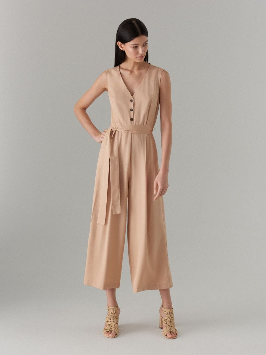 Jumpsuit with belt - beige - WW809-08X - Mohito - 4