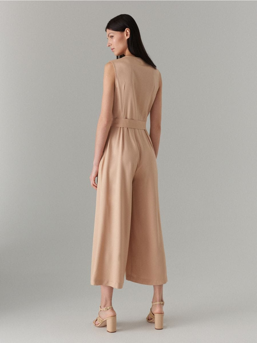 Jumpsuit with belt - beige - WW809-08X - Mohito - 6
