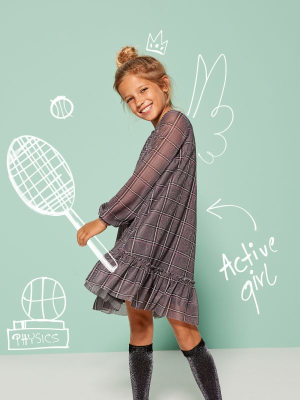 Little Princess girls ruffle dress - grey - UL795-90X - Mohito - 1
