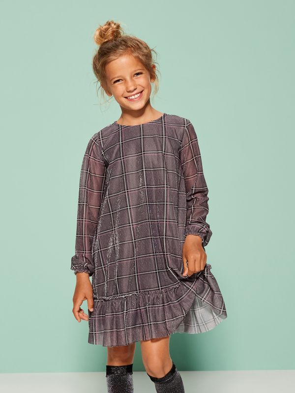 Little Princess girls ruffle dress - grey - UL795-90X - Mohito - 2