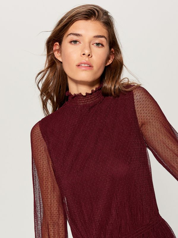 Dress with see through sleeves - burgundy - UP217-83X - Mohito - 2
