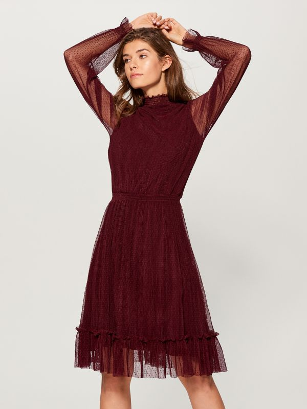 Dress with see through sleeves - burgundy - UP217-83X - Mohito - 3