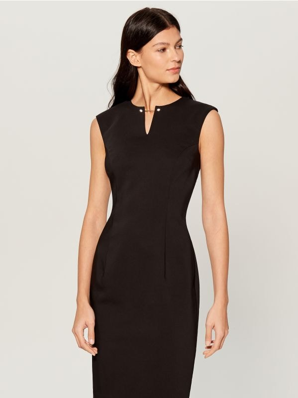 Midi dress with jewellery detail - black - UP296-99X - Mohito - 1